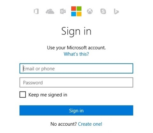 Log in with the Microsoft account