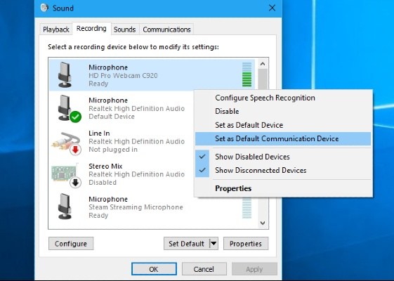 Mic As The Default Device on Windows 10